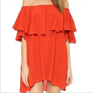 NWT MLM label red off the shoulder maison dress
